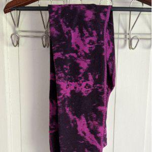 Lululemon Wunder Under Magenta Tie Dye Tights Sz 6